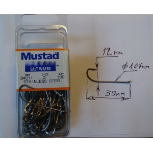 Mustad 34011 Stainless Steel  #6 #2  #1 #1/0  #2/0 #4/0