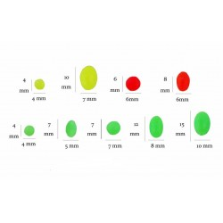 Assorted Silikon  GLOW Beads RED / GREEN / Yellow (chartreuse)